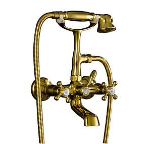 voordelige Vintage kranen-Badkraan - Antiek Ti-PVD Muurbevestigd Messing ventiel Bath Shower Mixer Taps / Twee handgrepen twee gaten