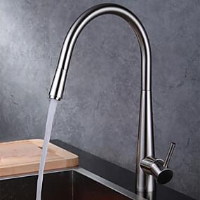 billige Uttrekkbar Spray-Kjøkken Kran - Et Hull Børstet Uttrekkbar Vægmonteret Moderne Kitchen Taps / Messing / Enkelt Håndtak Et Hull
