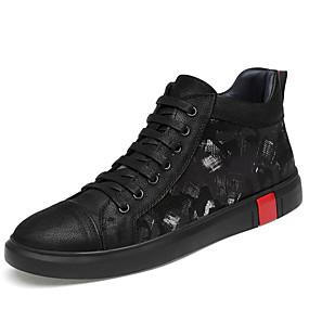 baratos Tênis Masculino-Homens Sapatos de couro Lona / Pele Napa Inverno Esportivo / Casual Tênis Caminhada Manter Quente Preto