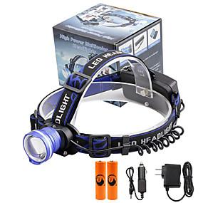 hesapli Fenerler-U'King Kafa Lambaları Bisiklet Farı LED LED Emitörler 2000 lm 3 Işıtma Modu Piller ve Şarj Aletleri ile Zoomable Alarm Ayarlanabilir Fokus Kamp / Yürüyüş / Mağaracılık Günlük Kullanım Bisiklete