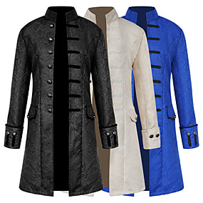 cheap Toys & Hobbies-Retro / Vintage Medieval Costume Men's Coat White / Black / Blue Vintage Cosplay Dobby Fabric Party Prom Long Sleeve Stand