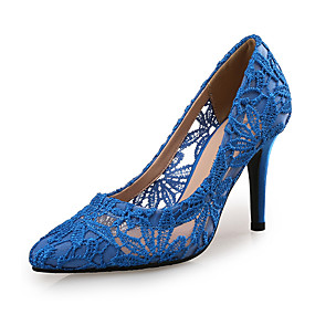 cheap New Arrivals-Women's Lace Spring &  Fall Sweet Heels Stiletto Heel Pointed Toe Fuchsia / Light Grey / Royal Blue / Wedding