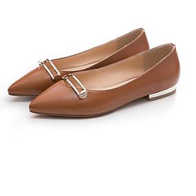 3ddd6f04917fa نسائي Leather نابا الربيع حلو   شيوع اخفاف كعب مسطخ حذاء براس مدبب عقدة    ترتر أسود   بني داكن   عاري