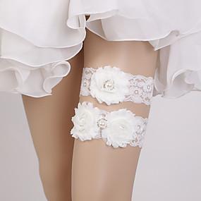 billige Strømpebånd til bryllup-Blonder Bryllup / søt stil Bryllupsklær Med Perledetaljer / Blomst Strømpebånd Bryllup / Fest