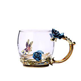 billige Drikkeglass-blå rose emalje krystall kopp blomst te glass glass vann krus med håndtak gave elsker bryllup