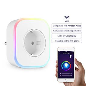 billige Elektrisk støpsel-Sokkel / Smart Plug Timing Funksjon / med LED lys / med USB-porter 1pc ABS + PC / 750 ° C / anti-flammehemmende Plugg-inn APP / Android / iOS Amazon Alexa Echo / Google Assistant / Rede