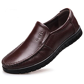 cheap Men's Slip-ons & Loafers-Men's Comfort Shoes Cowhide Spring &  Fall Loafers & Slip-Ons Black / Light Brown / Dark Brown