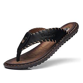 Χαμηλού Κόστους Αντρικές Παντόφλες & Σαγιονάρες-Ανδρικά Παπούτσια άνεσης Φο Δέρμα Ανοιξη καλοκαίρι Καθημερινό Παντόφλες & flip-flops Αναπνέει Μαύρο / Σκούρο μπλε