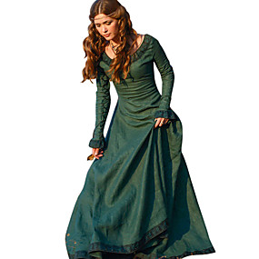 cheap Toys & Hobbies-Retro / Vintage Medieval Costume Women's Dress Red / Green / Blue Vintage Cosplay Polyster Tea Party Festival Long Sleeve Long Length A-Line