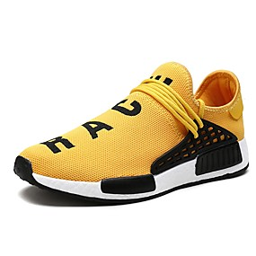 cheap Men's Athletic Shoes-Men's Light Soles Canvas / Mesh Spring & Summer Sporty / Casual Athletic Shoes Running Shoes / Walking Shoes Breathable Black / Yellow / Red
