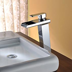 abordables Offres de la Semaine-Robinet lavabo - Jet pluie / LED Chrome Sur Pied Mitigeur deux trousBath Taps / Acier inoxydable