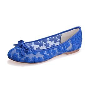 voordelige Damesschoenen met platte hak-Dames Kant Lente zomer Zoet Platte schoenen Platte hak Ronde Teen Strik Zwart / Blauw / Roze / Bruiloft / Feesten & Uitgaan
