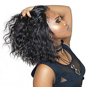 billige Curly Lace Wigs-Ekte hår 4X13 Lukking 13x6 Closure Blonde Forside Parykk Bobfrisyre Kort bob Rihanna stil Brasiliansk hår Krop Bølge Naturlig Parykk 130% 150% Hair Tetthet med baby hår Naturlig hårlinje