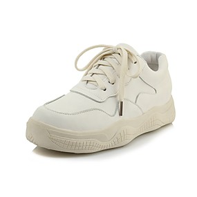 baratos Sapatos Esportivos Femininos-Mulheres Couro Ecológico Primavera & Outono Casual / Colegial Tênis Caminhada Plataforma Ponta Redonda Branco / Preto / Bege