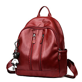 cheap School Bags-Women's Bags PU(Polyurethane) Backpack Zipper Solid Color Black / Red