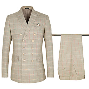 رخيصةأون Prom Suits-كاكي مربعات قياس أساسي ستاندرد قطن / بوليستر دعوى - ذروة صدر ثنائي ست أزرار / بدلة