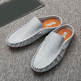 baratos Tamancos Masculinos-Homens Sapatos Confortáveis Couro Ecológico Primavera Casual Tamancos e Mules Branco / Preto / Cinzento