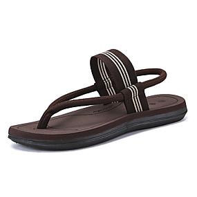 baratos Sandálias Masculinas-Homens Sapatos Confortáveis Lona Primavera Verão Sandálias Preto / Marron / Cinzento