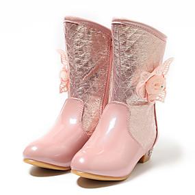 cheap New Arrivals-MRLOTUSNEE® Girls' Shoes PU(Polyurethane) Winter / Fall & Winter Fashion Boots / Flower Girl Shoes Boots Flower for Kids / Teenager Silver / Light Pink / Knee High Boots / Wedding