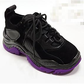 baratos Sapatos Esportivos Femininos-Mulheres Pele Napa Outono Tênis Corrida Calcanhar escondido Preto / Cinzento
