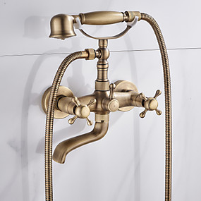 cheap Bathtub Faucets-Shower Faucet / Bathtub Faucet - Antique Antique Brass Tub And Shower Ceramic Valve Bath Shower Mixer Taps / Two Handles Two Holes