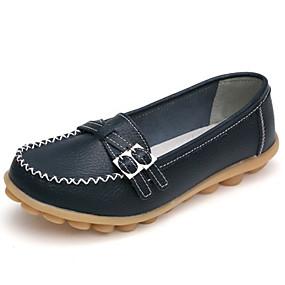 voordelige Damesinstappers & loafers-Dames Loafers & Slip-Ons Platte hak Ronde Teen Gesp Leer Comfortabel Lente / Herfst Koffie / Rood / Lichtblauw