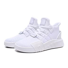 baratos Sapatos Esportivos Femininos-Mulheres Tênis Sem Salto Ponta Redonda Tissage Volant Primavera Verão Branco