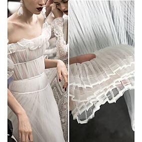 ราคาถูก Crafts&Sewing-ผ้า Tulle ทึบ รอยจีบ 165 cm ความกว้าง ผ้า สำหรับ โอกาสพิเศษ ขาย โดย 0.45m