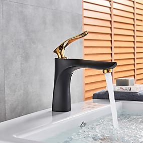 billige Ugentlige tilbud-Baderom Sink Tappekran - Utbredt Krom / Malte Finishes / Svart Vannrett Montering Enkelt Håndtak Et HullBath Taps