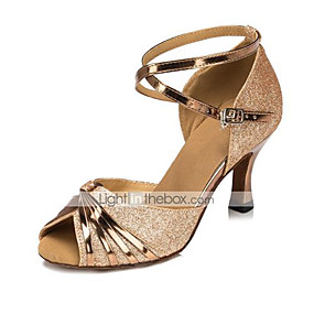 b57ebf63bc01d Shall We® Women s Latin Shoes   Salsa Shoes Leatherette Sandal Buckle  Flared Heel Customizable Dance Shoes Silver   Gold   Purple   Kid s    Indoor ...