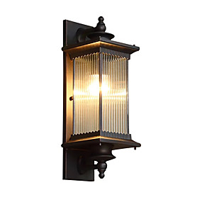cheap Wall Lights-QINGMING® Waterproof / Mini Style Retro / Country Flush Mount wall Lights / Outdoor Wall Lights Outdoor / Garden Metal Wall Light IP65 110-120V / 220-240V 60 W
