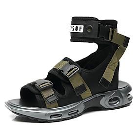 baratos Sandálias Masculinas-Homens Sapatos Confortáveis Jeans / Com Transparência Verão / Primavera Verão Colegial Sandálias Caminhada / Tênis Anfíbio Respirável Estampa Colorida Preto / Verde Tropa