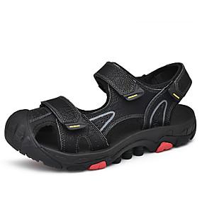 baratos Sandálias Masculinas-Homens Sapatos de couro Pele Verão Esportivo / Casual Sandálias Aventura / Caminhada Respirável Preto / Castanho Claro / Castanho Escuro