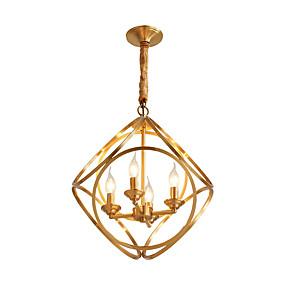 abordables Plafonniers-LightMyself™ 4 lumières Cercle Anneau / Globe / Géométrique Lampe suspendue Lumière d'ambiance Laiton Métal 220-240V / 100-120V
