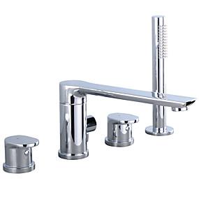 cheap Shower Faucets-Shower Faucet - Contemporary Chrome Other Ceramic Valve Bath Shower Mixer Taps