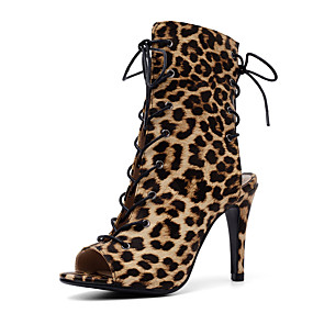 billige Mote Boots-Dame PU Vår sommer Vintage / Britisk Støvler Stiletthæl Titte Tå Gul / Grønn / Leopard / Fest / aften