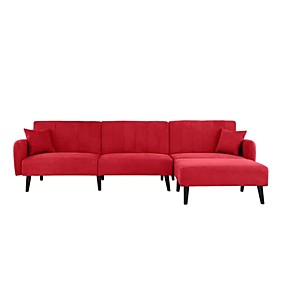 cheap Living Room Furniture-Mid-Century Modern Red Linen Sleeper Sectional Sofa