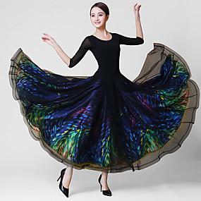 ราคาถูก -0.5-ชุดเต้นรำโมเดิร์น ชุดเดรสต่างๆ สำหรับผู้หญิง การฝึกอบรม / Performance Crystal Cotton / ตารางไขว้ / Elastane แสงระยิบระยับ / ข้อต่อ แขนยาว 3/4 ธรรมชาติ ชุดเดรส