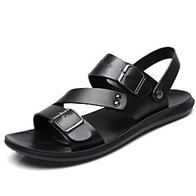 povoljno Muške cipele-Muškarci Udobne cipele Koža Ljeto Sandale Crn / Braon