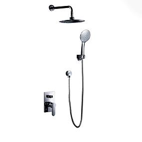 cheap Shower Faucets-Shower Faucet Chrome Wall Mounted Ceramic Valve Bath Shower Mixer Taps