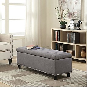 hesapli Depolama Çözümleri-Gri keten 48-inch yatak odası depolama osmanlı tezgah footrest