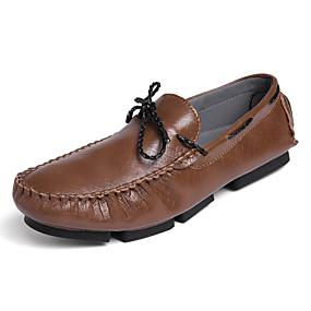 baratos Sapatos Náuticos Masculinos-Homens Sapatos Confortáveis Couro Ecológico Primavera Verão Sapatos de Barco Respirável Branco / Preto / Café