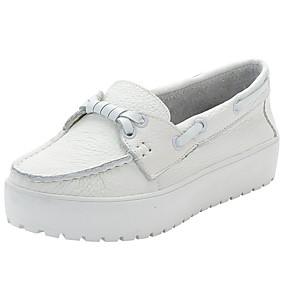 baratos Mocassins Femininos-Mulheres Pele Napa Primavera & Outono Sapatos de Barco Creepers Branco