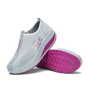 voordelige Damessneakers-Dames Elastische stof Lente zomer Informeel Sneakers Swingschoenen Sleehak Ronde Teen Zwart / Fuchsia / Licht Grijs / leuze