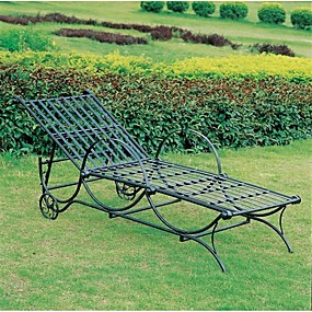 cheap Furniture-Outdoor Multi-Position Iron Chaise Lounge Chair in Black
