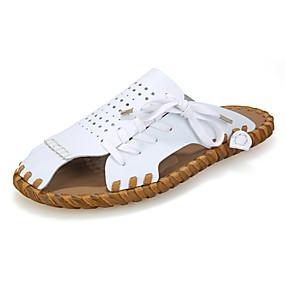 baratos Sandálias e Chinelos Masculinos-Homens Sapatos de couro Pele Verão Chinelos e flip-flops Respirável Preto / Branco / Marron