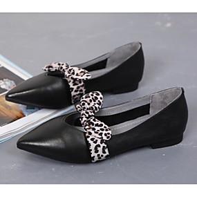 voordelige Damesschoenen met platte hak-Dames Nappaleer Lente Platte schoenen Lage hak Zwart / Beige