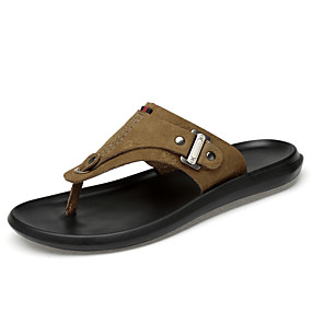 baratos Sandálias e Chinelos Masculinos-Homens Sapatos de couro Pele Napa Verão Clássico / Casual Chinelos e flip-flops Caminhada Respirável Marron / Khaki