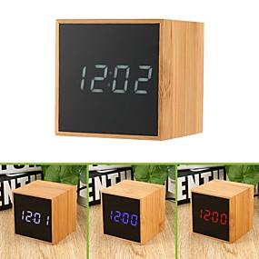 povoljno Újdonságok-drvena stolna budilica usb& radni sat s glasovnom kontrolom na baterije s velikim digitalnim alarmima za prikaz temperature