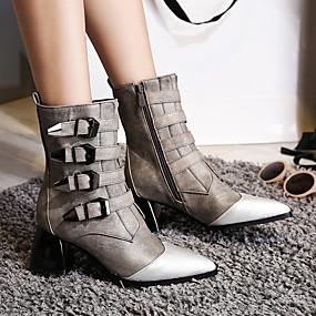 billige Mote Boots-Dame Støvler Sexy Støvler Tykk hæl Spisstå PU Støvletter Vintage / Britisk Høst vinter Svart / Grå / Fest / aften